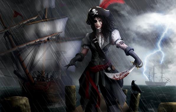 Picture sea, girl, rain, pen, lightning, blood, ships, art, gloves, headband, pirates, saber, cocked hat, Ryan …