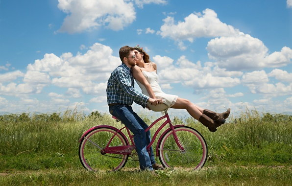 Picture greens, field, summer, the sky, grass, girl, the sun, clouds, bike, mood, kiss, jeans, boots, ...