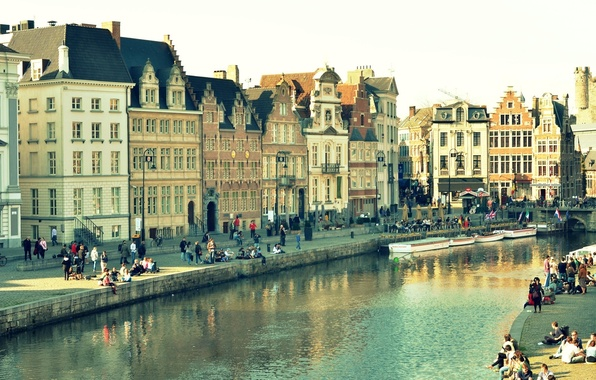 Picture water, bridge, the city, reflection, people, Windows, building, home, lights, channel, Belgium, Ghent