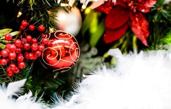 Picture snow, red, background, holiday, Wallpaper, tree, new year, ball, fluff, wallpaper, new year, currants, widescreen, …