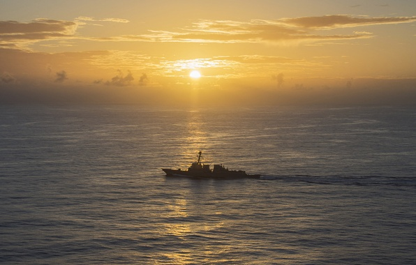Picture sunset, weapons, ship, PHILIPPINE SEA, USS Michael Murphy (DDG 112), guided-missile destroyer