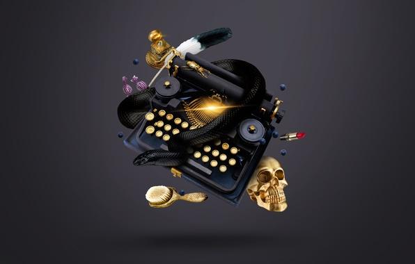 Picture gold, pen, skull, snake, beetle, lipstick, blueberries, candy, typewriter, sake, witch, gold, snake, ink, beetle, …