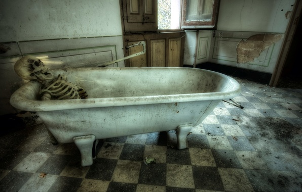 Picture background, skeleton, bath