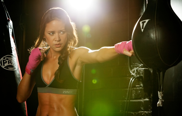 Picture woman, punch, boxing, fitness, training