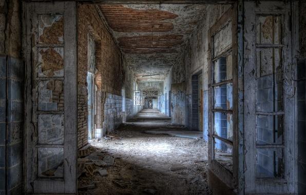 Picture dirt, ruins, building, walls without paint, broken windows, construction, halls
