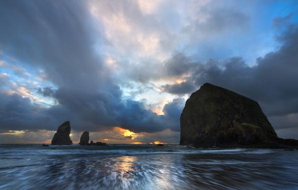 Picture beach, rocks, dawn, oregon coast, cannon beach
