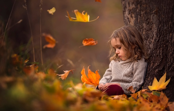 Picture autumn, leaves, girl, bokeh
