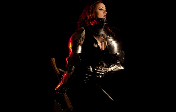 Picture girl, armor, warrior, axe, tattoo