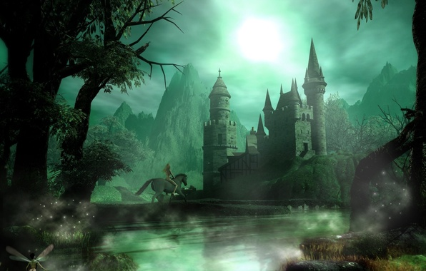 Picture night, fantasy, castle, rider