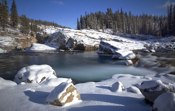 Picture winter, the sky, snow, trees, mountains, lake, stones, rocks