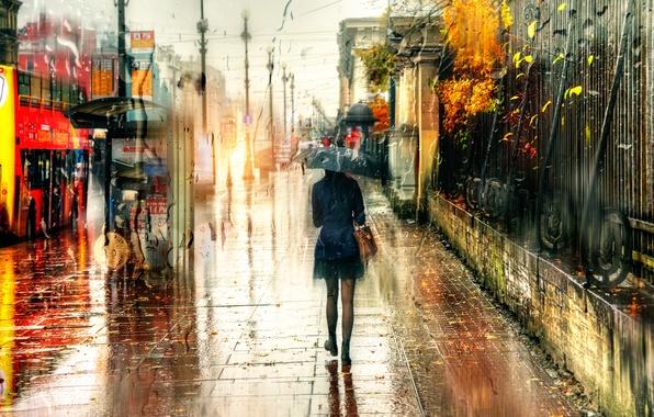 Picture girl, drops, rain, umbrella, Saint Petersburg