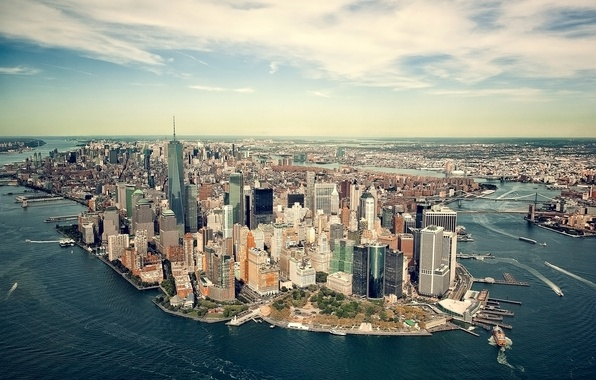 Photo wallpaper sea, coast, New York, panorama, Bay, USA, Manhattan, megapolis