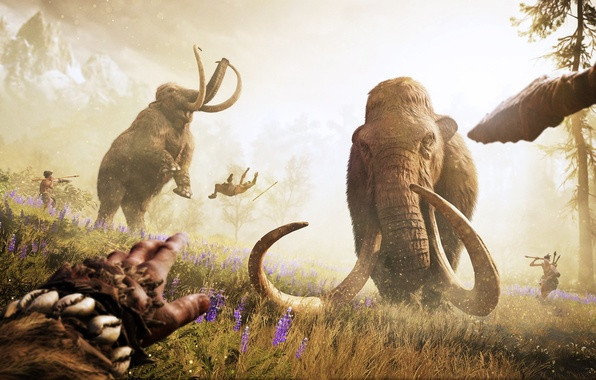 Picture game, people, hunting, Far Cry, Ubisoft, spears, Game, mammoths, Primal