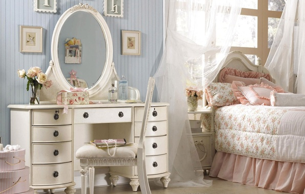 Picture pink, pillow, mirror, pictures, bedroom, chest, ruffles