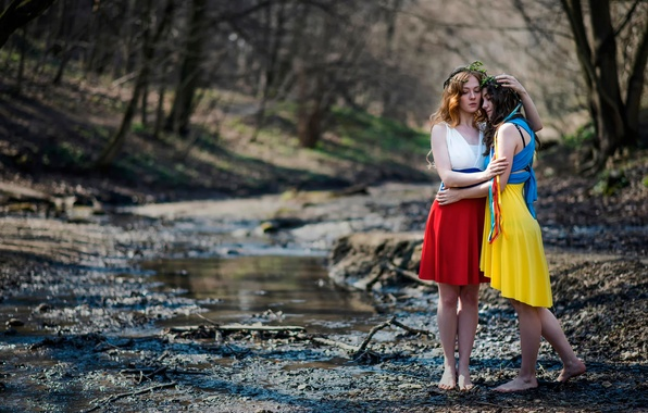 Picture country, girls, the world, friendship, Russia, Ukraine, sisters, flags dresses, understanding