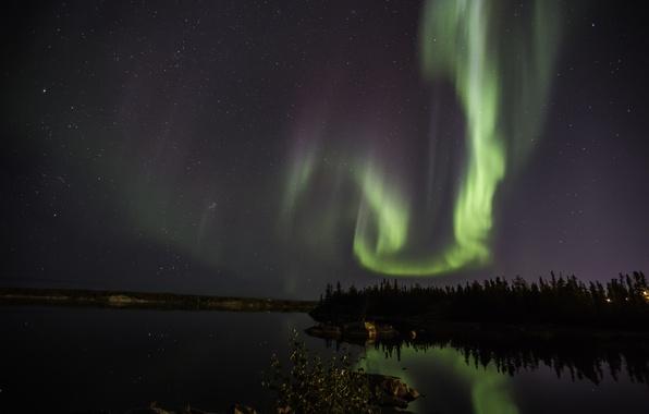 Picture the sky, stars, night, Northern lights, panorama, Aurora Borealis