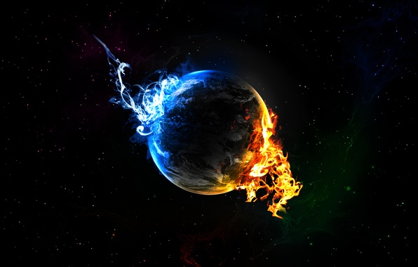 Picture stars, blue, fire, flame, planet