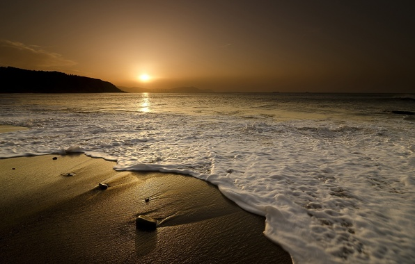 Picture sand, sea, wave, landscape, sunset, nature, stones