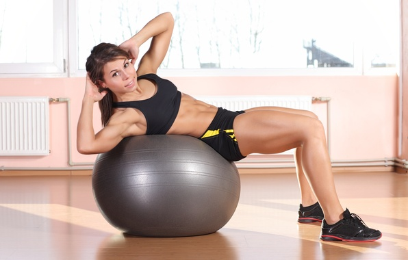 Picture girl, look, ball, fitness, abs