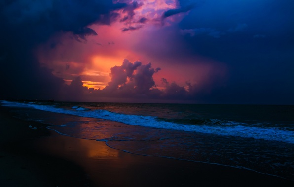 Picture sea, wave, beach, the sky, landscape, sunset, beauty