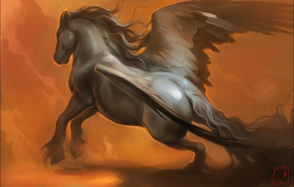 Picture horse, wings, fantasy, art, Pegasus, Alexander Khitrov, GaudiBuendia