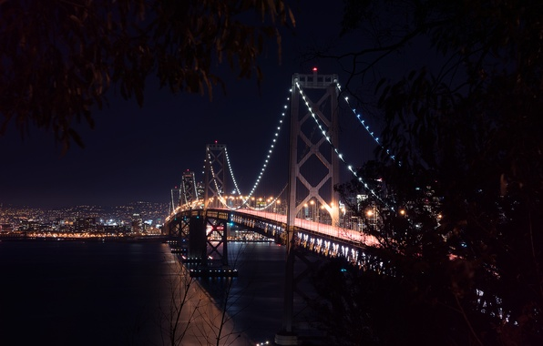 Picture City, Landscape, Bay Bridge, Architecture, San-Francisco, West, Nigth, Scape