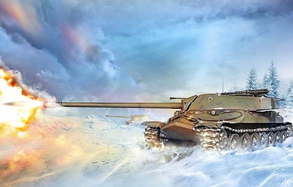 Picture winter, snow, fire, flame, figure, shot, art, tank, battlefield, heavy, Is-7, Soviet, World of Tanks