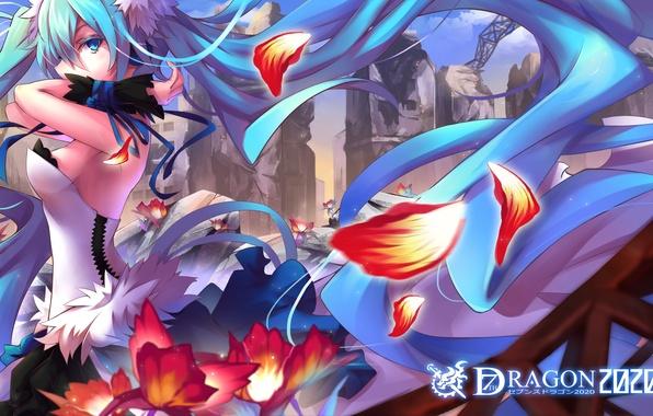 Picture girl, flowers, anime, petals, art, vocaloid, hatsune miku, 7th dragon 2020, litsvn