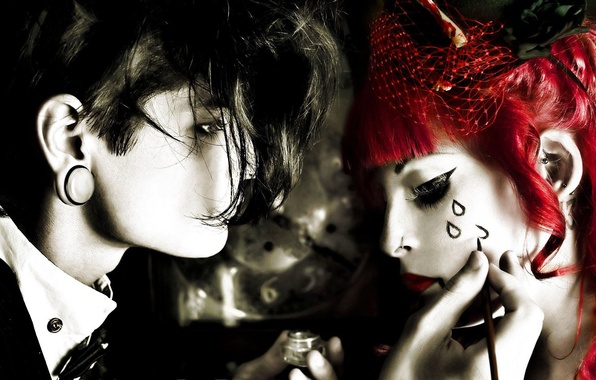 Picture girl, drops, Gothic, guy