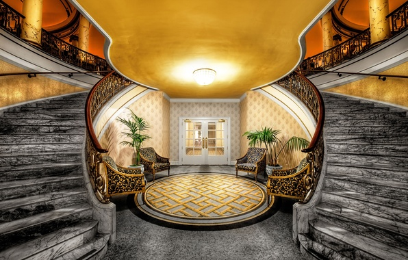 Picture carpet, interior, door, chairs, ladder, columns, marble, hall, wasonce, clarification.