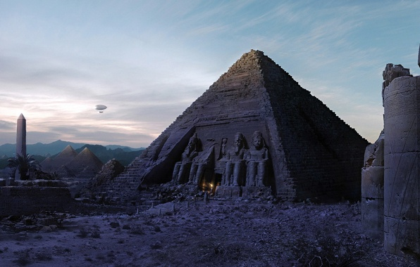 Picture fire, Pyramid, the airship, Egypt
