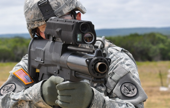 Picture USA, soldier, big, pearls, Semi-Automatic Airburst System, XM25, 25 mm amunition