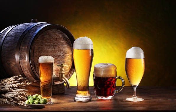 Picture foam, glass, beer, plate, mug, glasses, ears, dark, light, barrel