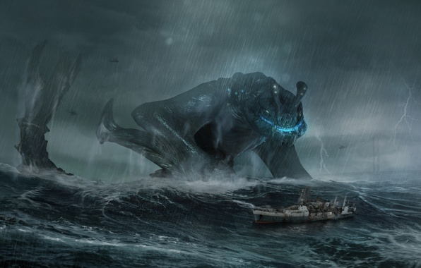 Picture sea, the storm, wave, storm, rain, ship, monster, storm, giant, pacific rim, gull, Otachi
