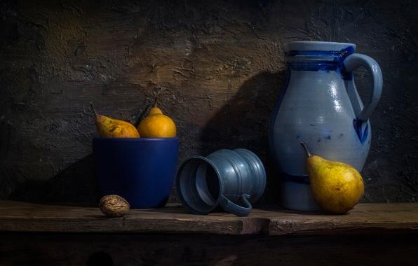Picture walnut, mug, pitcher, pear, Dutch style