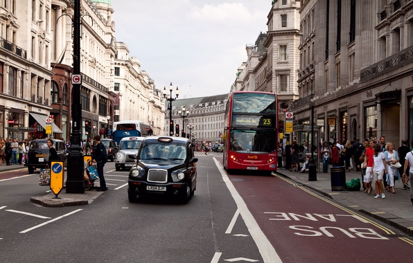 Picture movement, people, street, London, building, bus, architecture, stop, street, England, buss stop