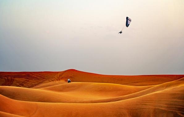 Picture desert, man, extreme sport, paragliding