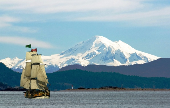 Picture snow, mountains, river, tops, ship, island, sailboat, flag, Canada, Vancouver