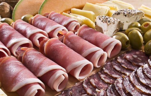 Picture cheese, meat, nuts, olives, rolls, sausage