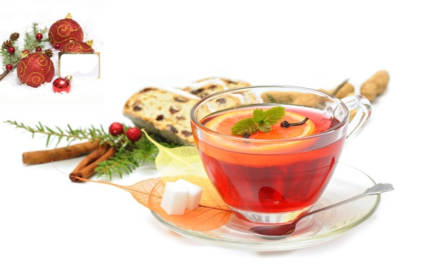 Picture berries, lemon, tea, mug, sugar, drink, cinnamon, bumps, carnation, saucer, Christmas decorations