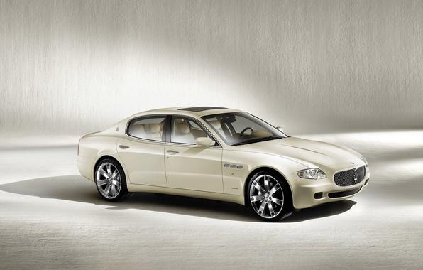 Picture car, machine, auto, white, Maserati, Quattroporte