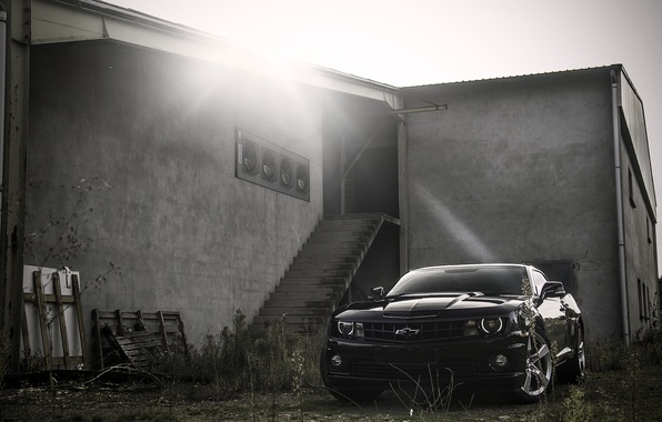Picture black, the building, steps, Chevrolet, black, Blik, camaro, chevrolet, Camaro