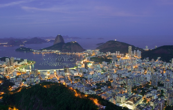 Picture mountains, city, the city, lights, lights, hills, coast, view, height, the evening, lighting, panorama, Brazil, …