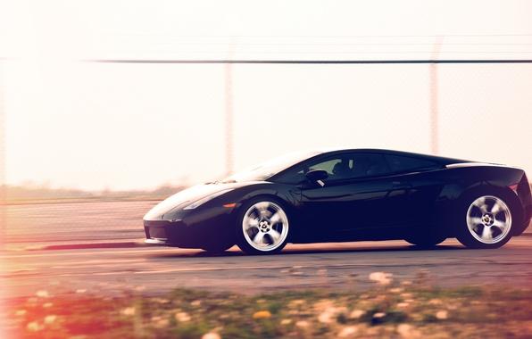 Picture speed, Lamborghini, black, Gallardo, black, Blik, track, Lamborghini, Lamborghini, Gallardo