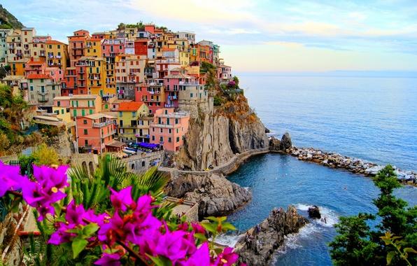 Picture sea, landscape, flowers, nature, the city, stones, rocks, coast, home, boats, Italy, Italy, Monterosso al …