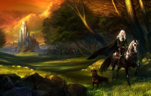 Picture forest, grass, girl, stones, castle, horse, dog, army, rider, art
