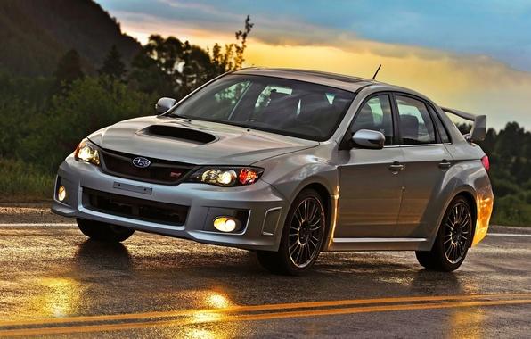 Picture road, the sky, glare, WRX, sedan, STI, Subaru, Impreza, the front, Subaru Impreza