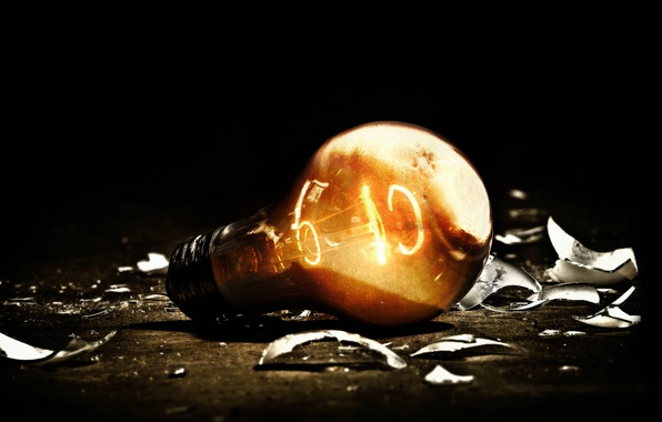Picture light bulb, light, fragments, darkness, electricity, light, burns, the filament, tungsten, bulb
