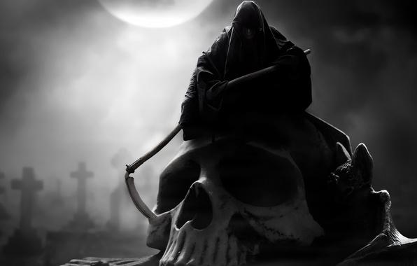 Picture death, the moon, skull, hood, braid, gloomy