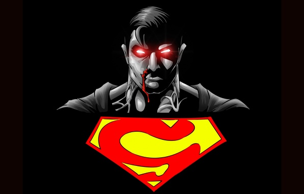 Picture sign, logo, symbol, black background, Superman, superhero, Superman